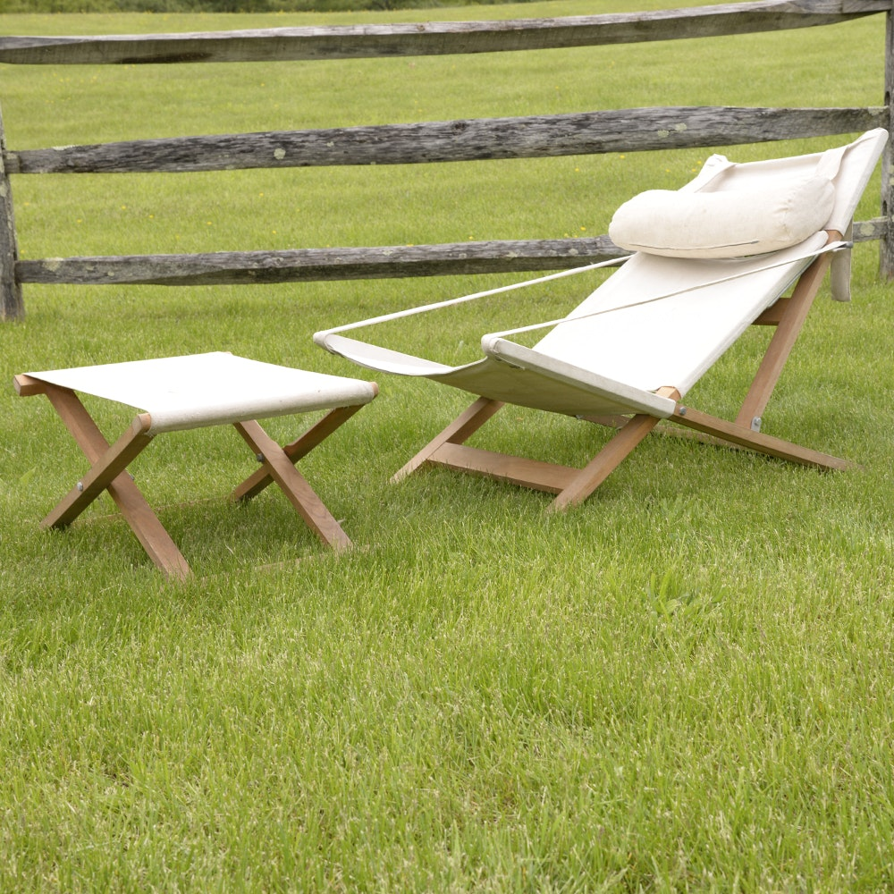 Danish Modern Outdoor Lounge Chair and Ottoman by Cado