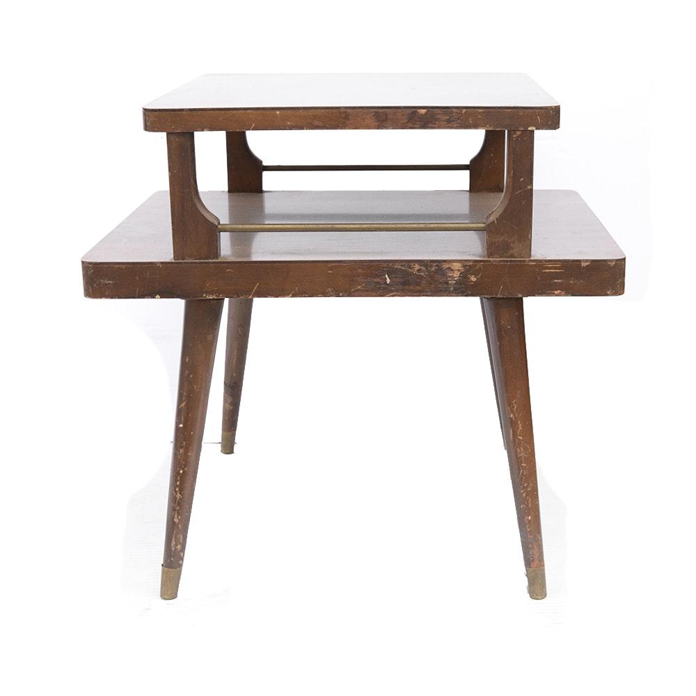 Mid Century Modern Mahogany Veneer Side Table