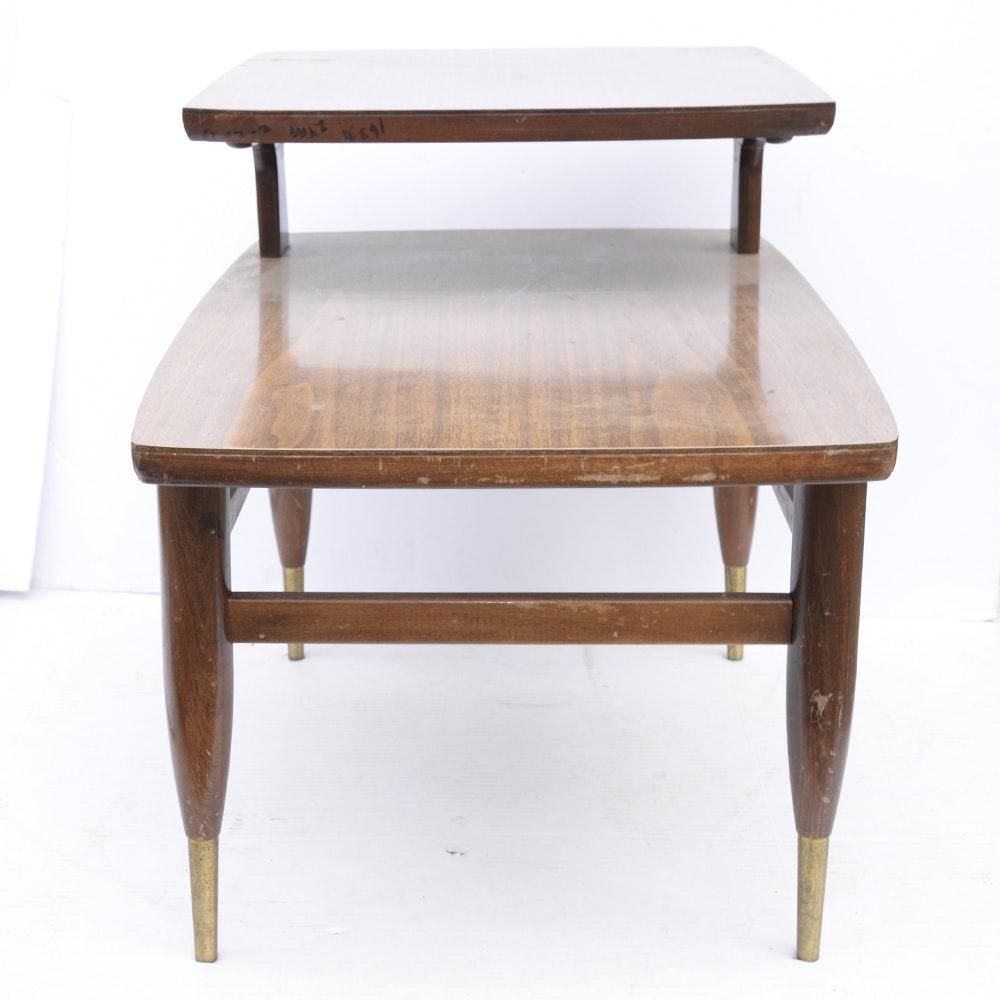 Mid Century Modern Mahogany Veneer Two Tier Side Table
