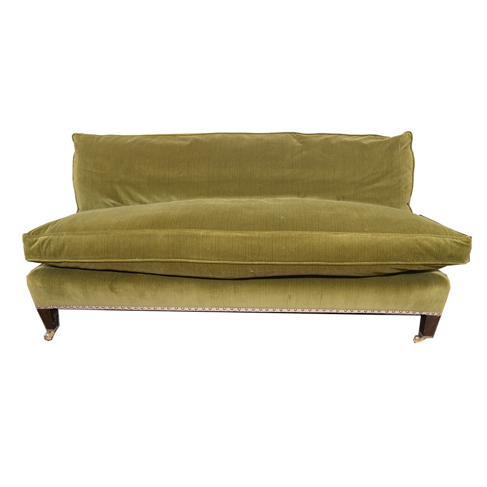 Muriel Brandolini Vintage Chartreuse Green Velour Settee