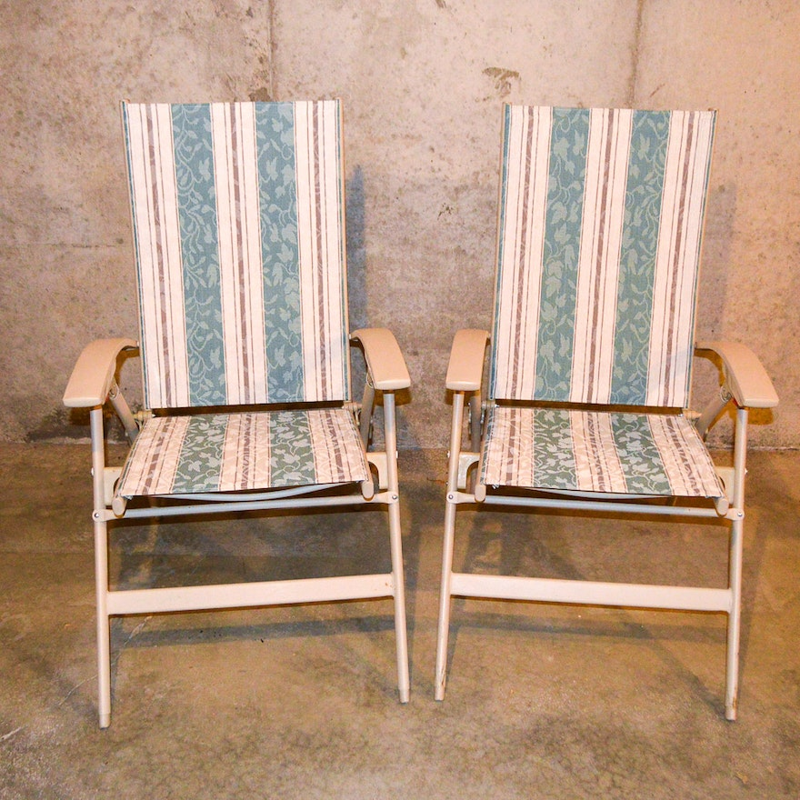 Pair Of Patio Lounge Chairs By Shincrest Ebth