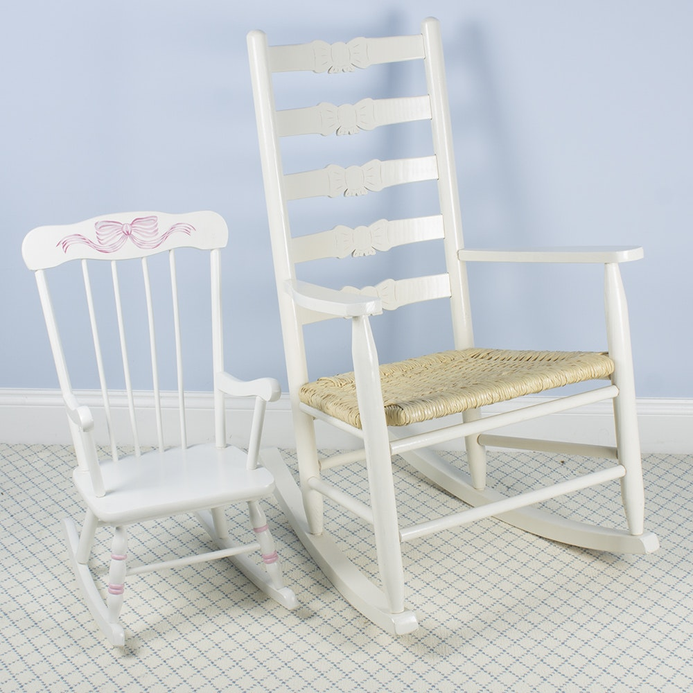 Ladder Back Rocking Chair by Donie Chair Company With Children's Rocker