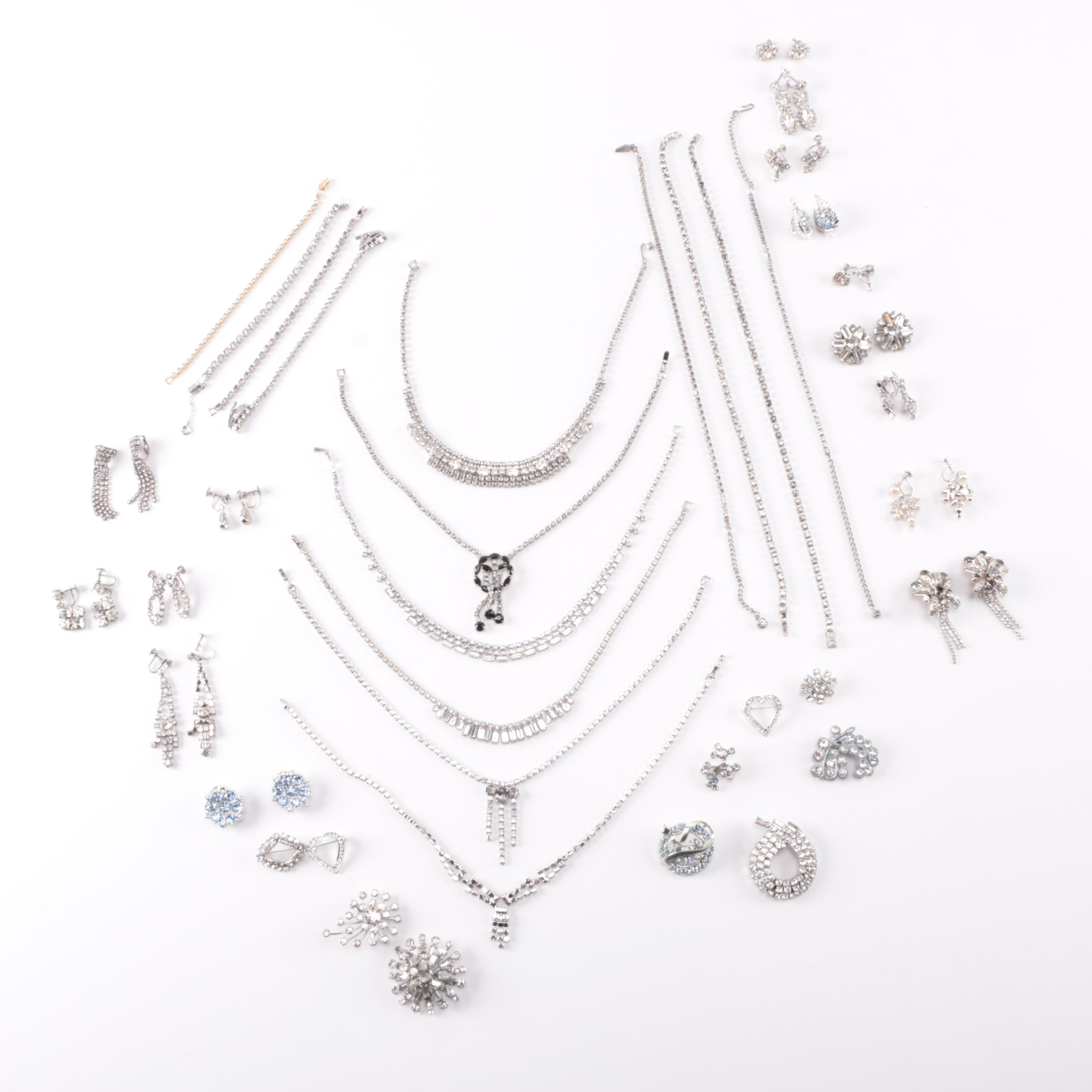 Large Assortment of Rhinestone Jewelry