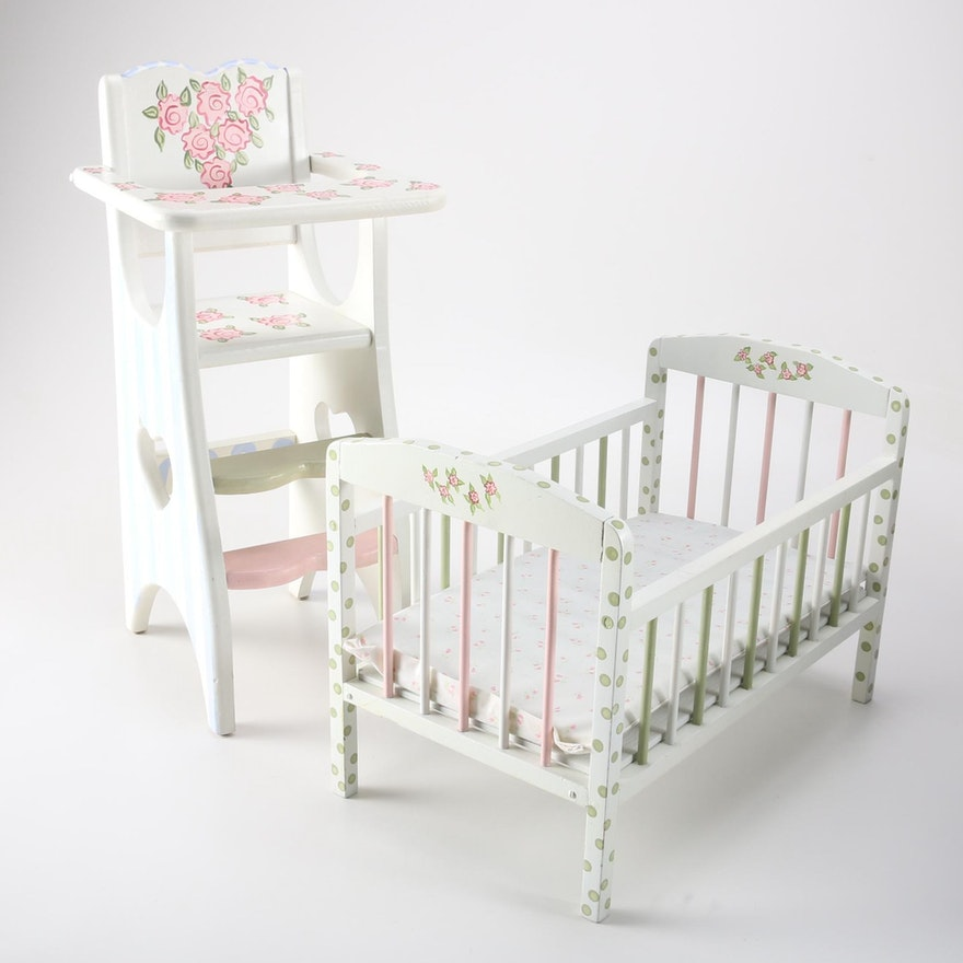 Hand Painted Wooden Doll Crib And High Chair Ebth