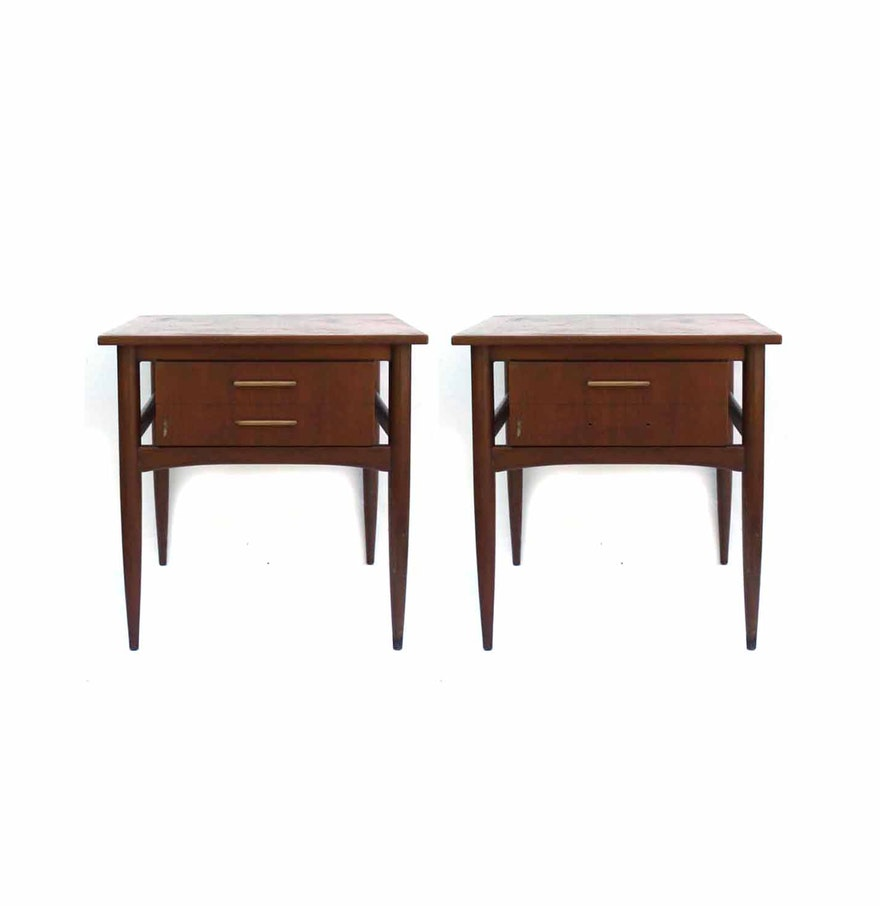 two mid century modern end tables by hekman  ebth - two mid century modern end tables by hekman