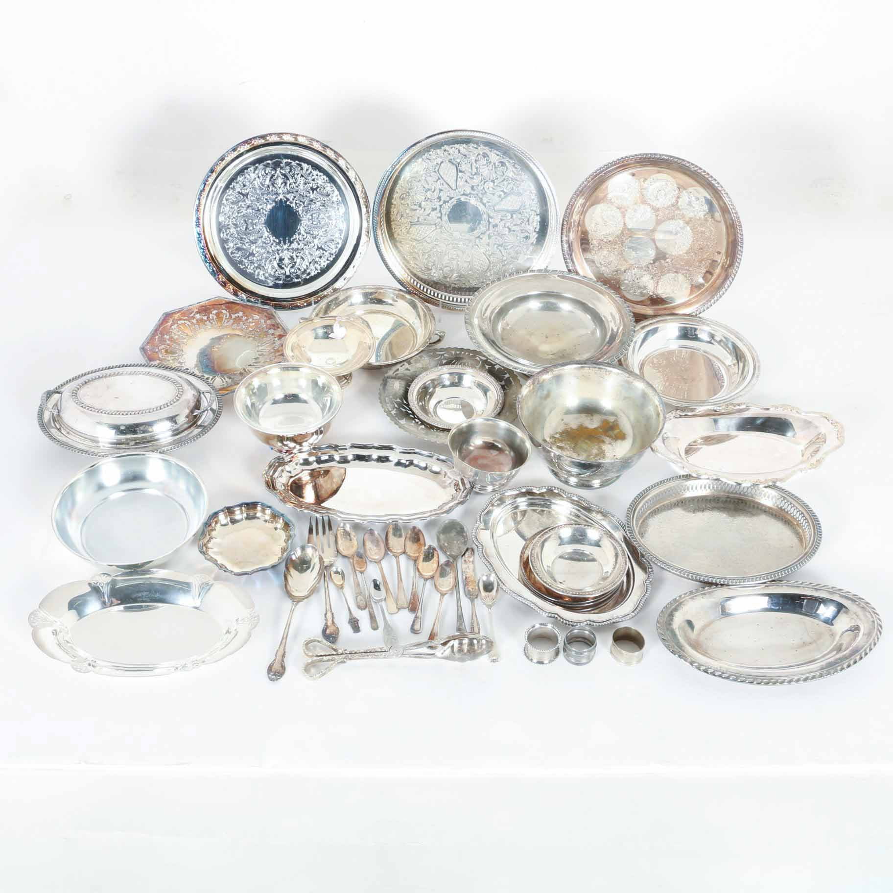 Silver Plate Trays, Bowls and Flatware Including Oneida and William Rogers