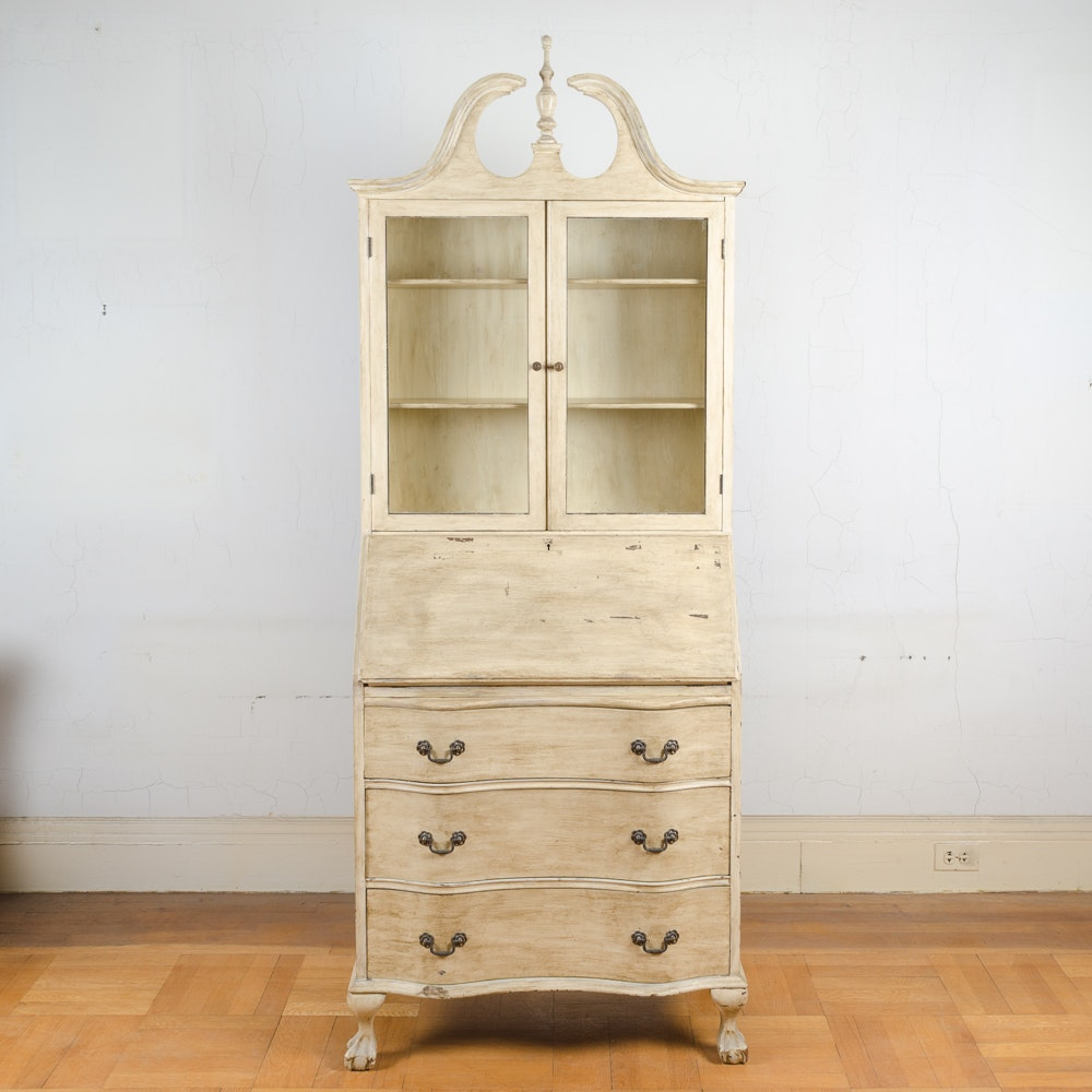 Chippendale Style Cream-Painted Secretary Desk