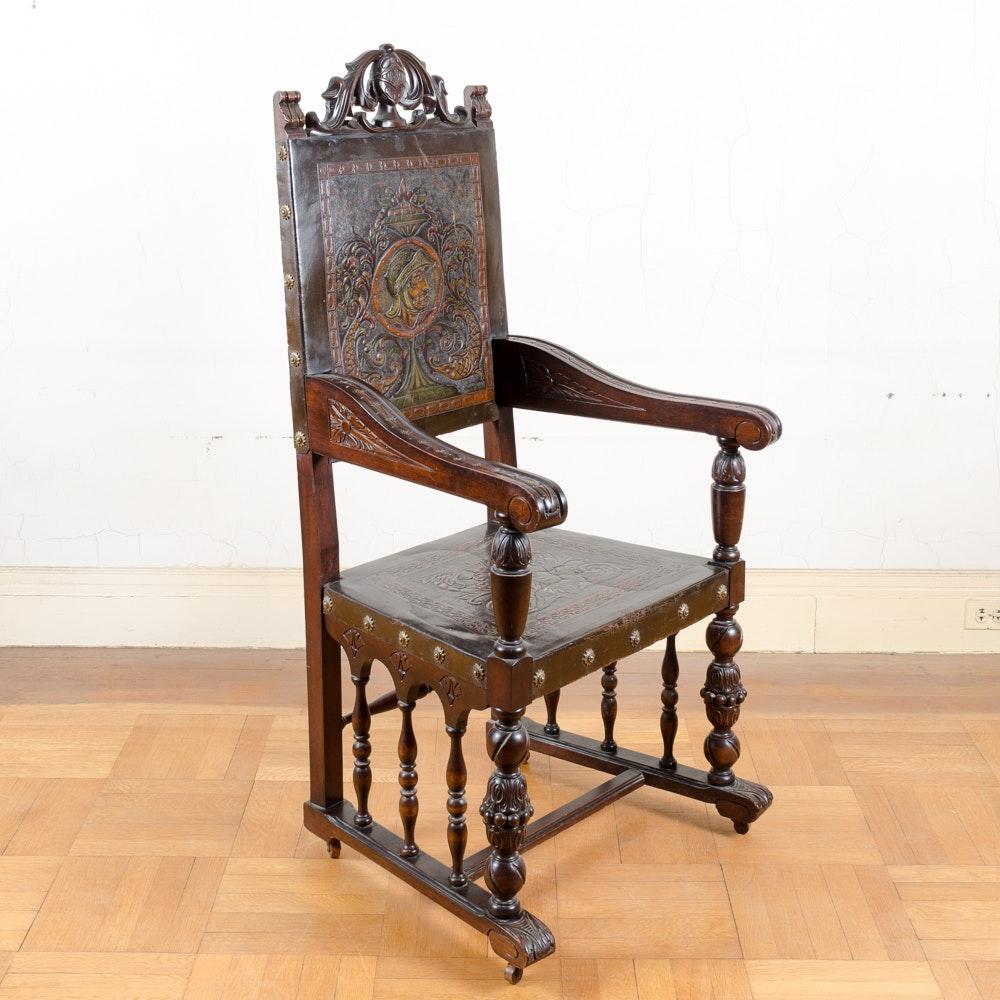 Antique Renaissance Revival Style Armchair