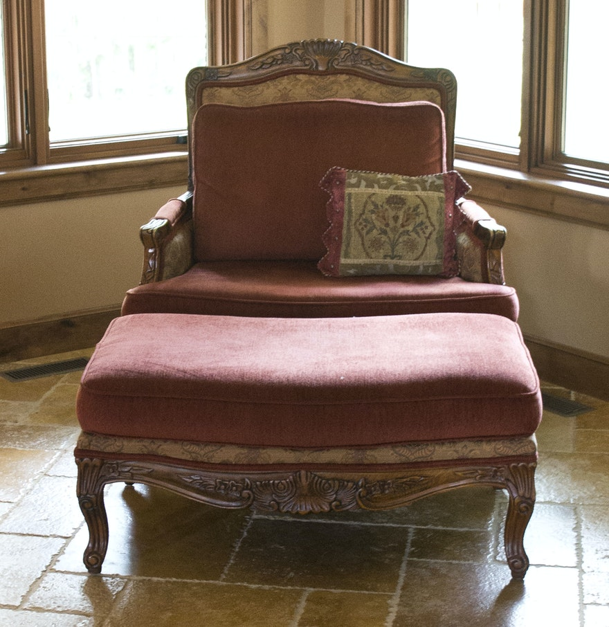 Bergere chair and ottoman - Louis Xv Style Berg Re Chair And Ottoman