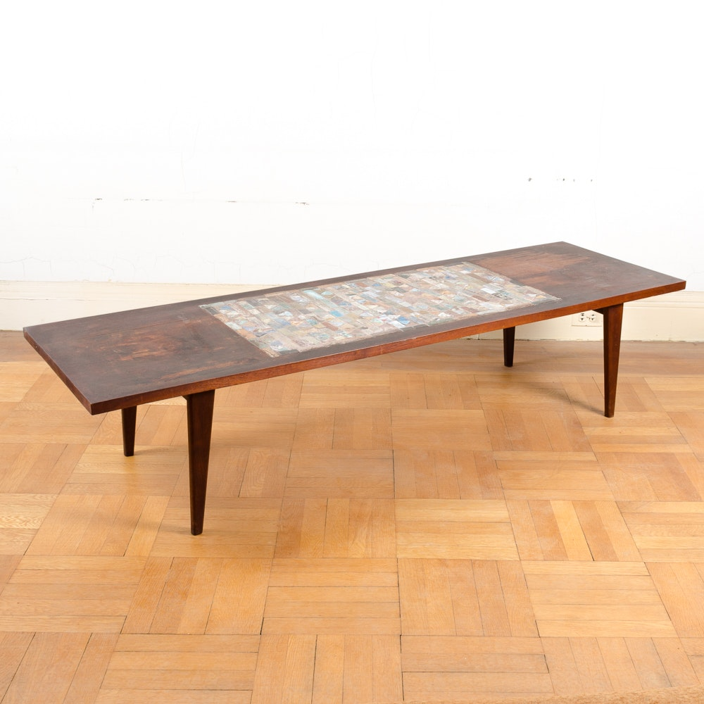 Mid Century Modern Coffee Table With Ceramic Inlay
