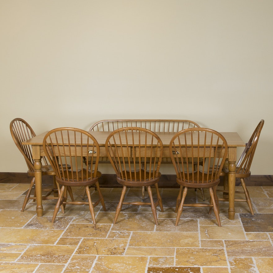 Peachy Farmhouse Dining Table With Windsor Chairs And Bench Bralicious Painted Fabric Chair Ideas Braliciousco