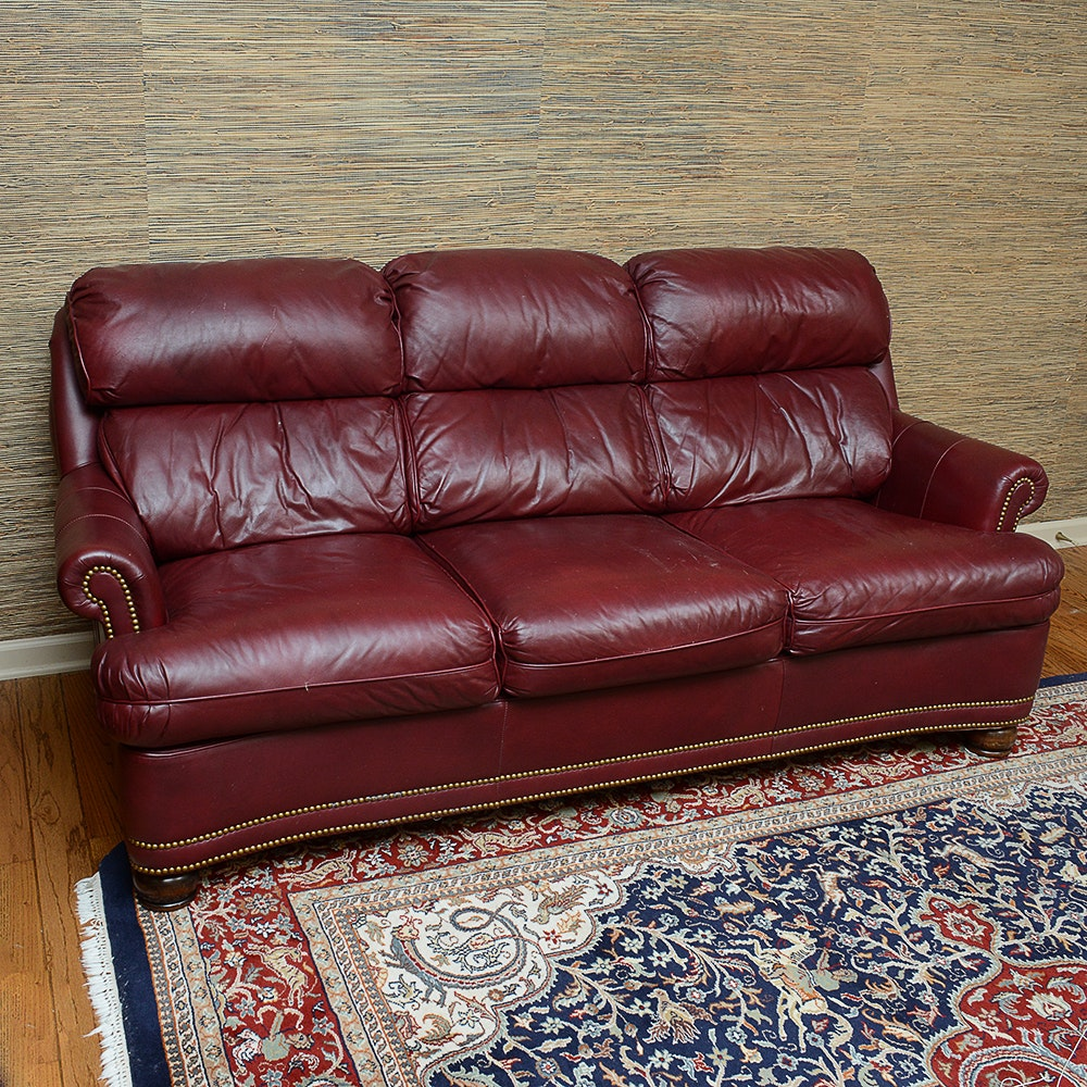 Hancock  Moore Burgandy Leather Sleeper Sofa