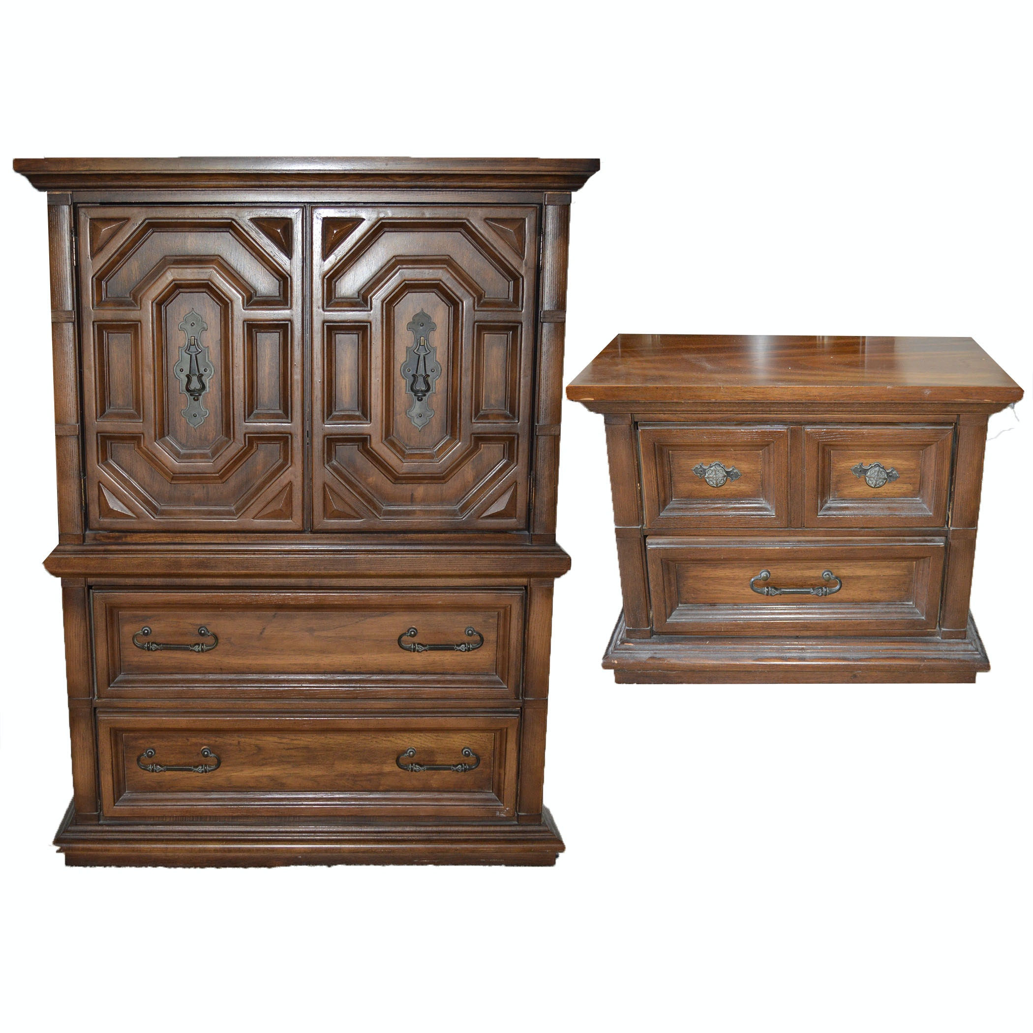 Nightstand and Matching Armoire