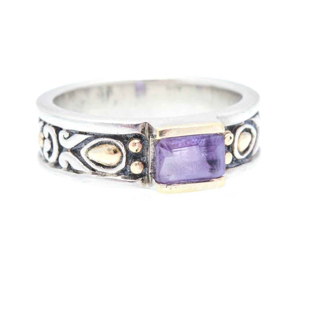 John Hardy Sterling Silver, 18K Yellow Gold and Amethyst Ring