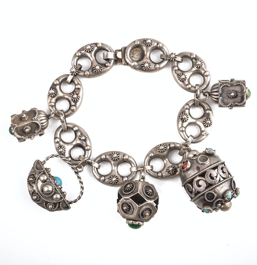 800 Silver Gucci Link Charm Bracelet