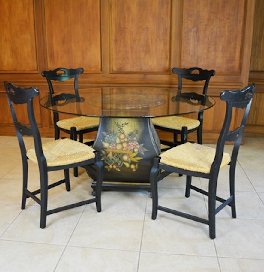 Glass top dining room table and four arhaus rush seat for Dining room table 4 seater
