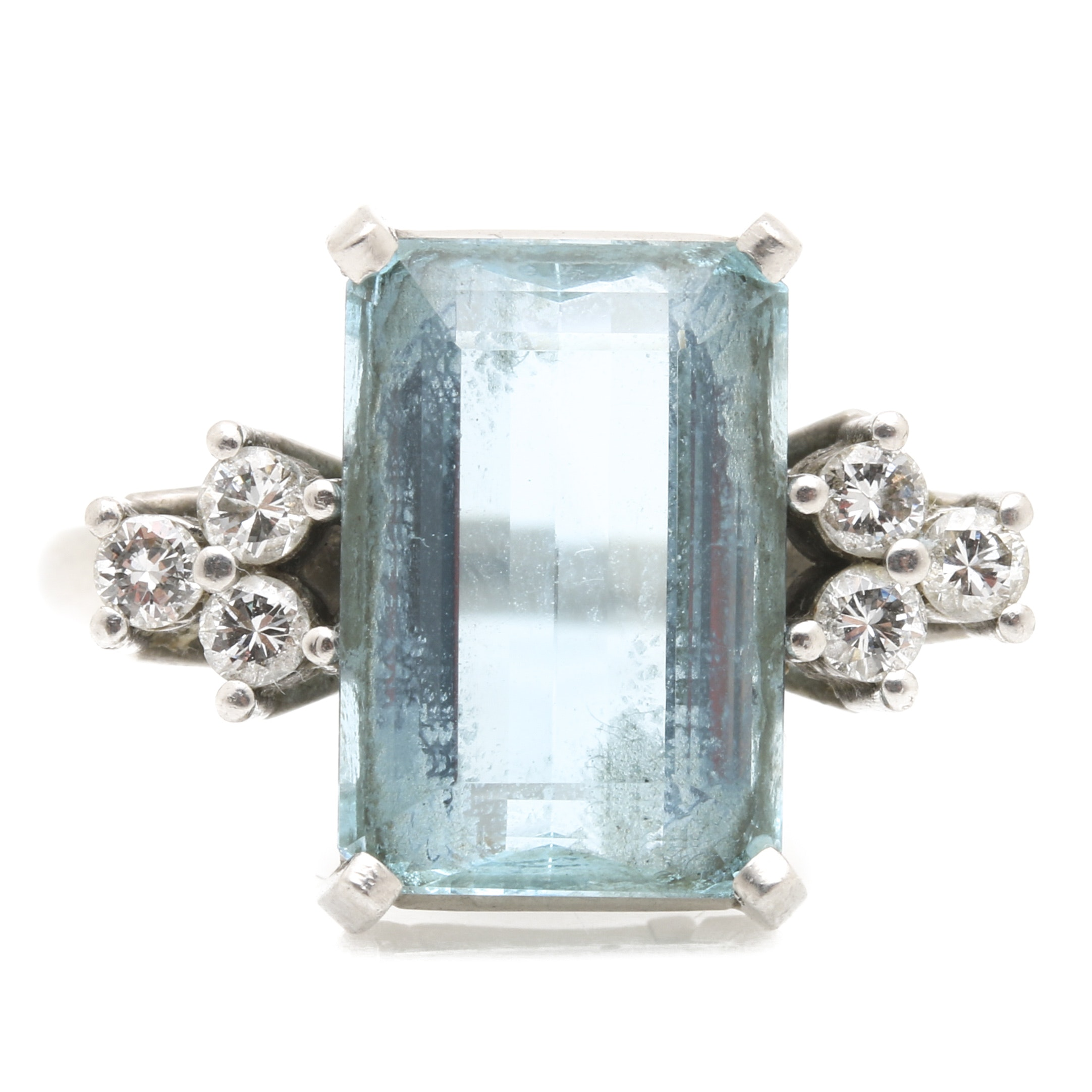Platinum 2.83 CTS Aquamarine and Diamond Ring