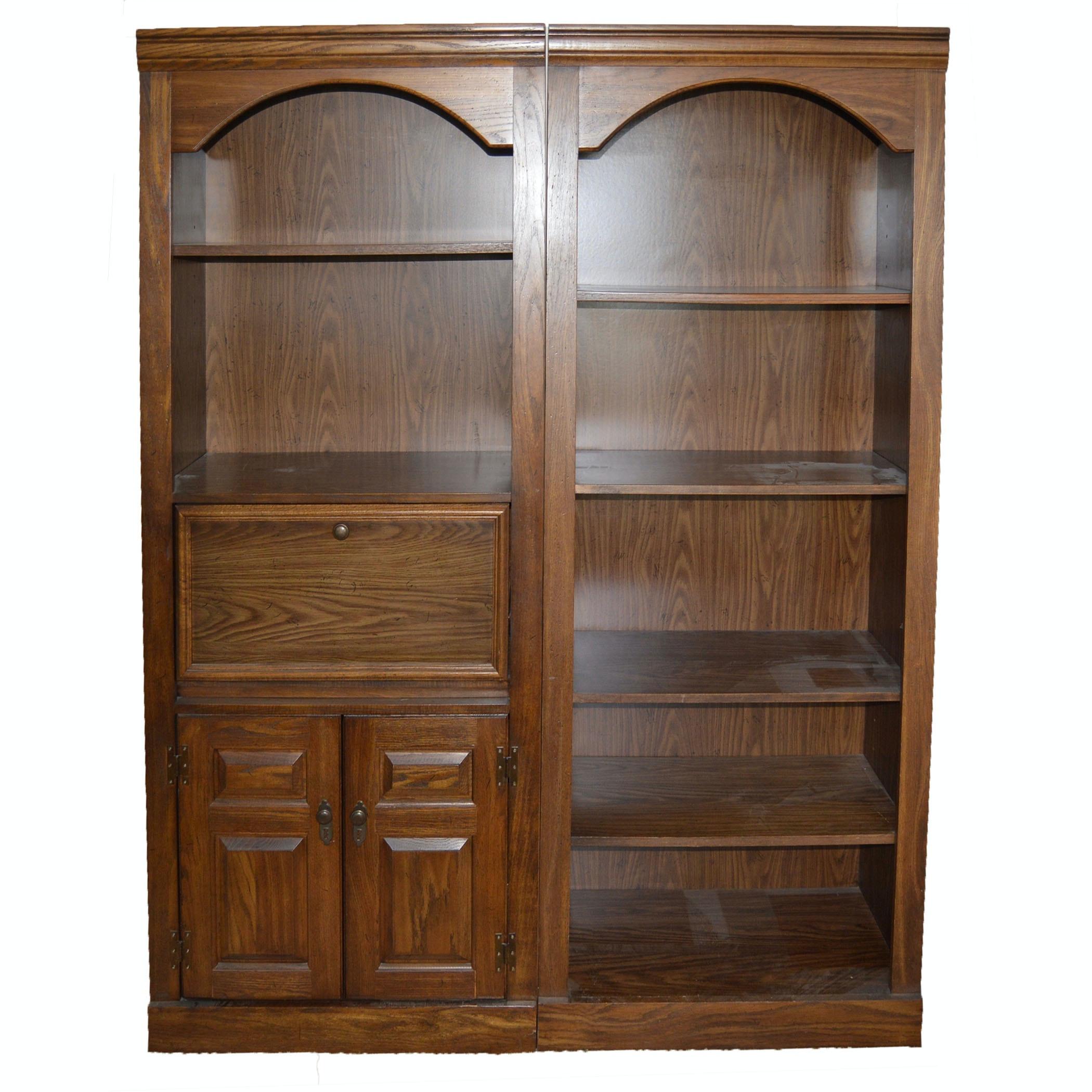 Pair of Oak Veneer Bookcases