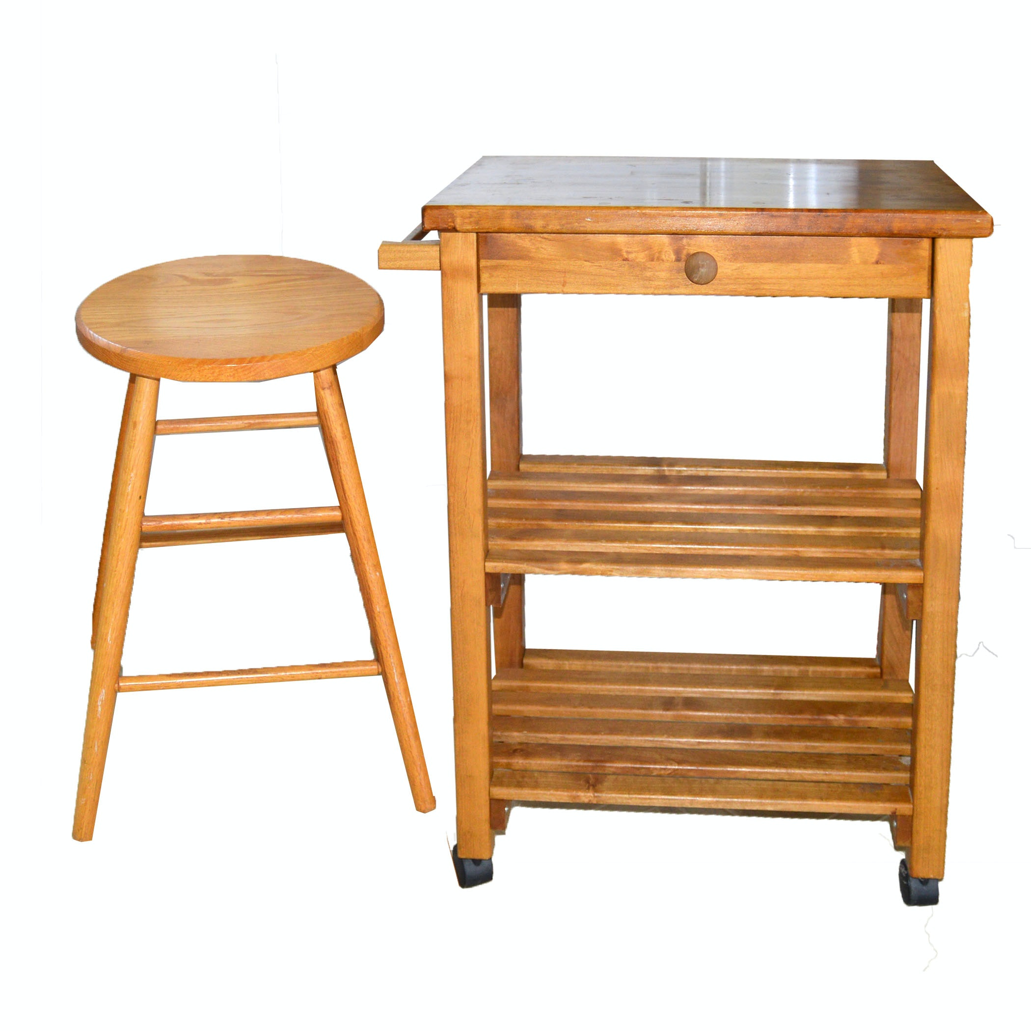Wooden Kitchen Island and Two Stools