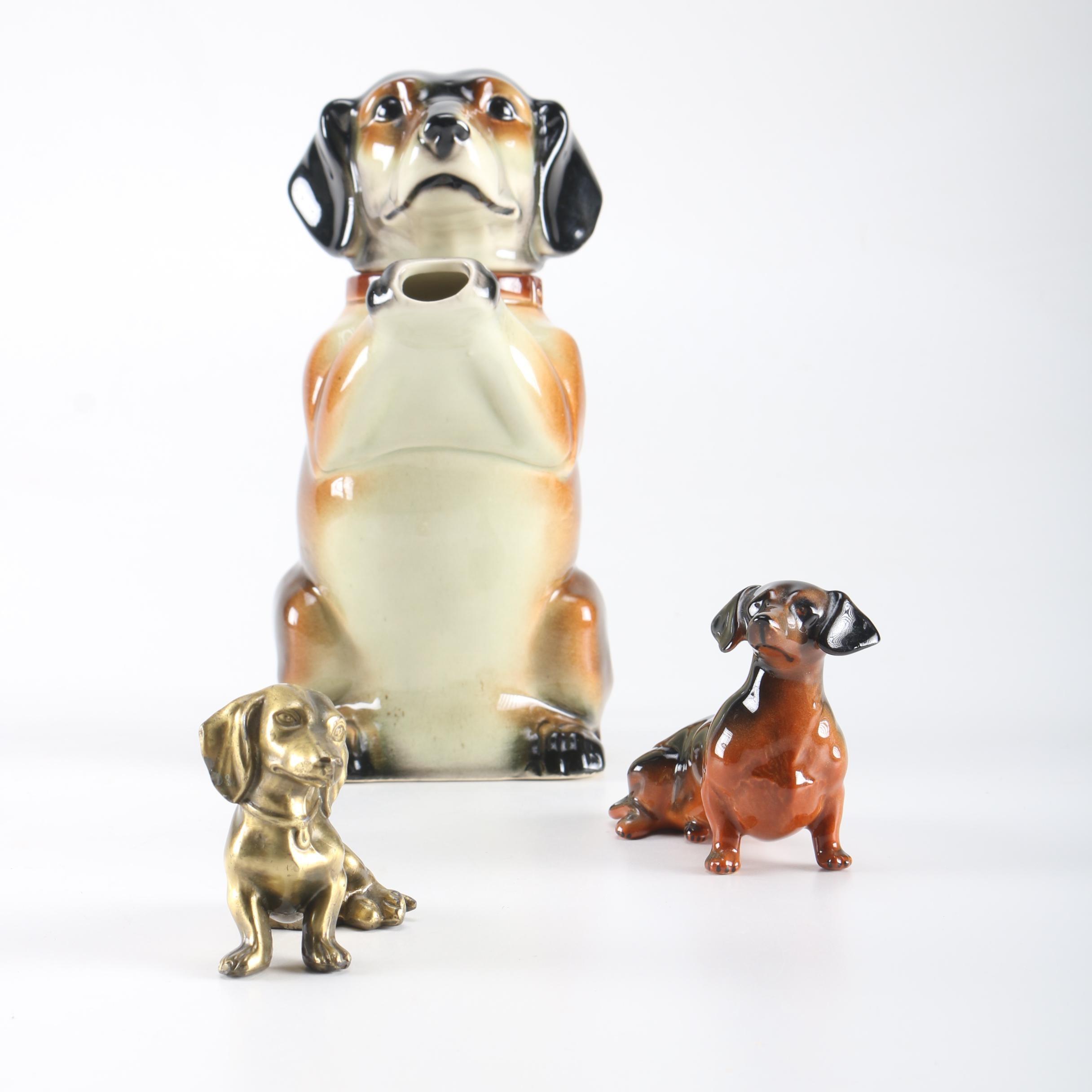 Earphila Dachshund Figural Teapot and Dachshund  Figurines