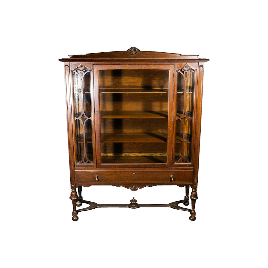 Antique Raised Glass and Oak Display Cabinet by Lammert's ... - Antique Raised Glass And Oak Display Cabinet By Lammert's : EBTH