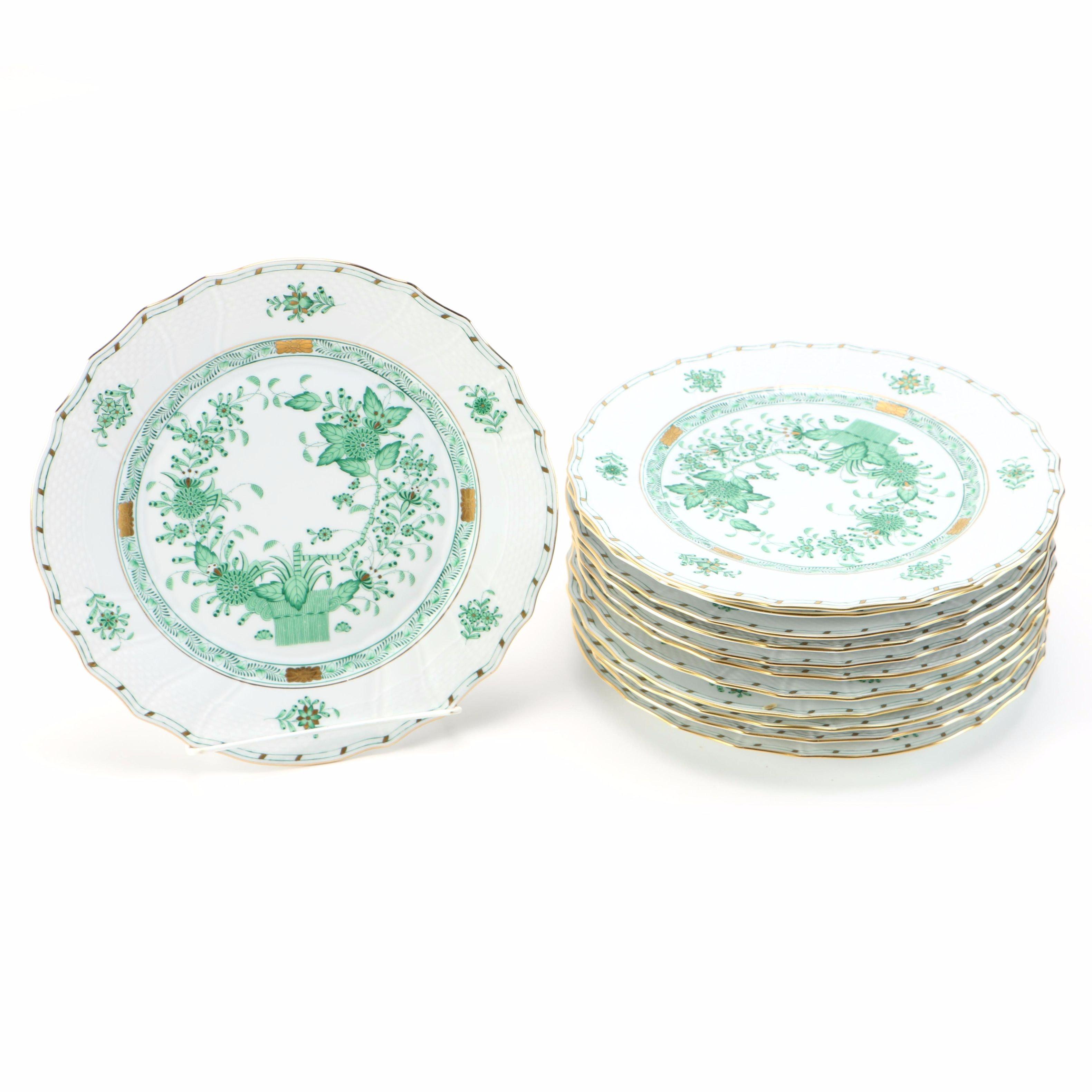 Herend  Indian Basket Green  Dinner Plates ...  sc 1 st  EBTH.com & Herend