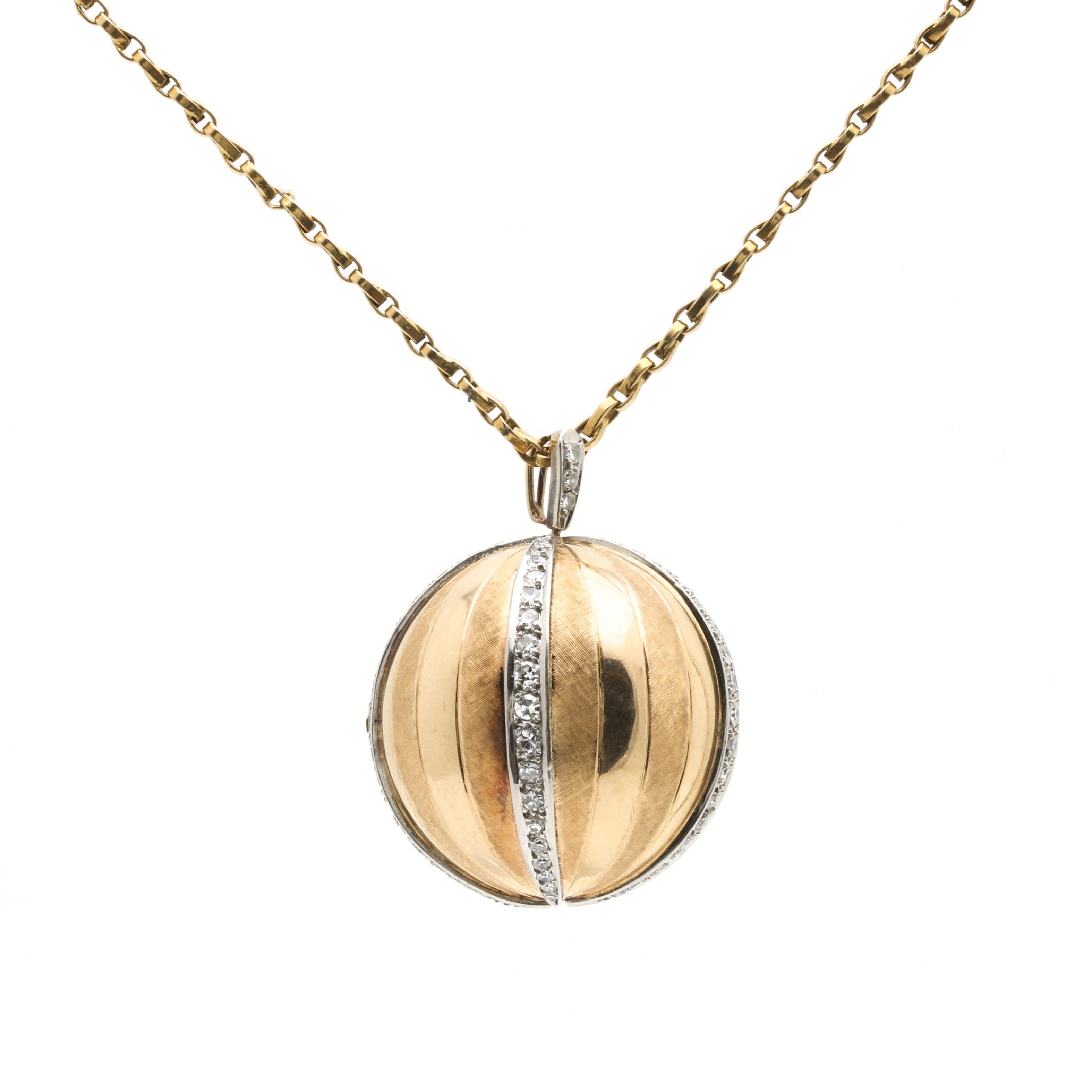 18K Yellow Gold 1.00 CTW Diamond Globe Locket Pendant Necklace