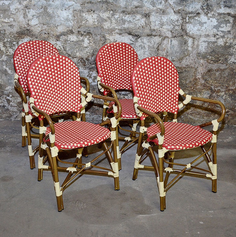 Red and White Woven Rattan Chairs