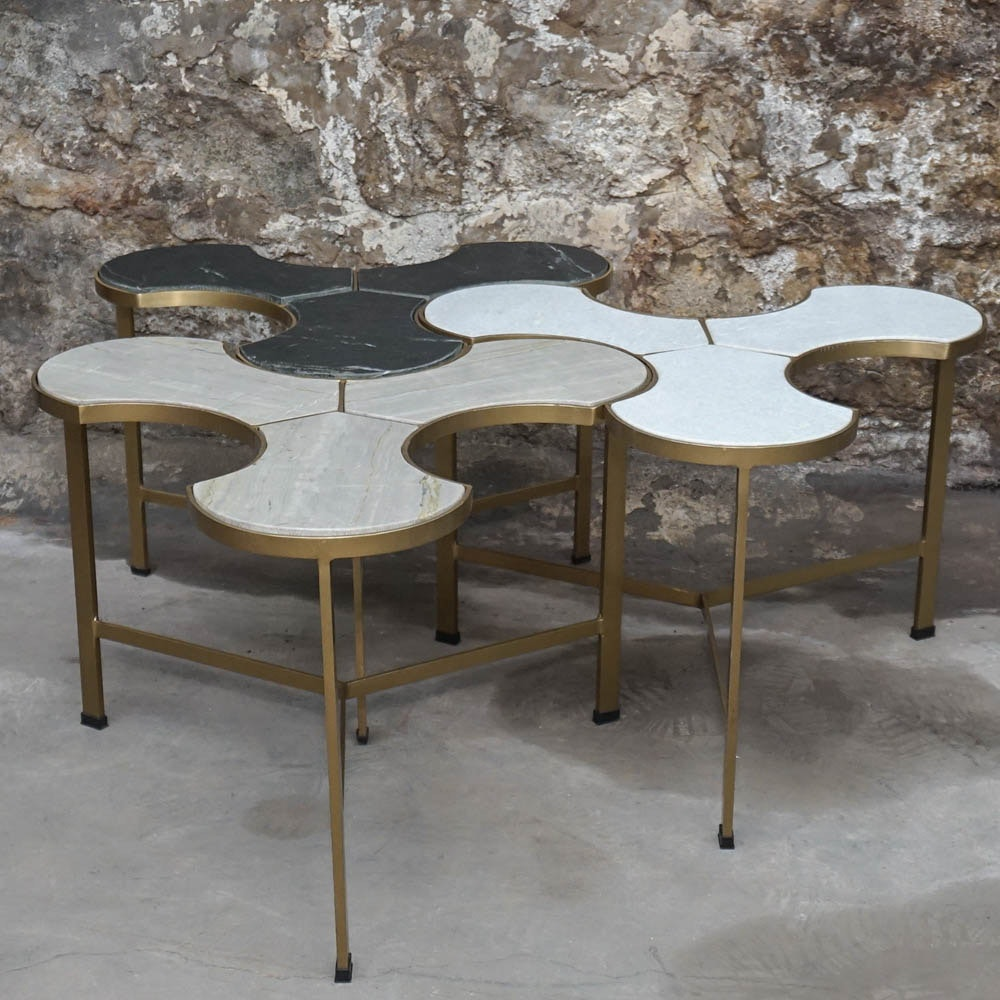 Vintage Marble Top Trefoil Tables