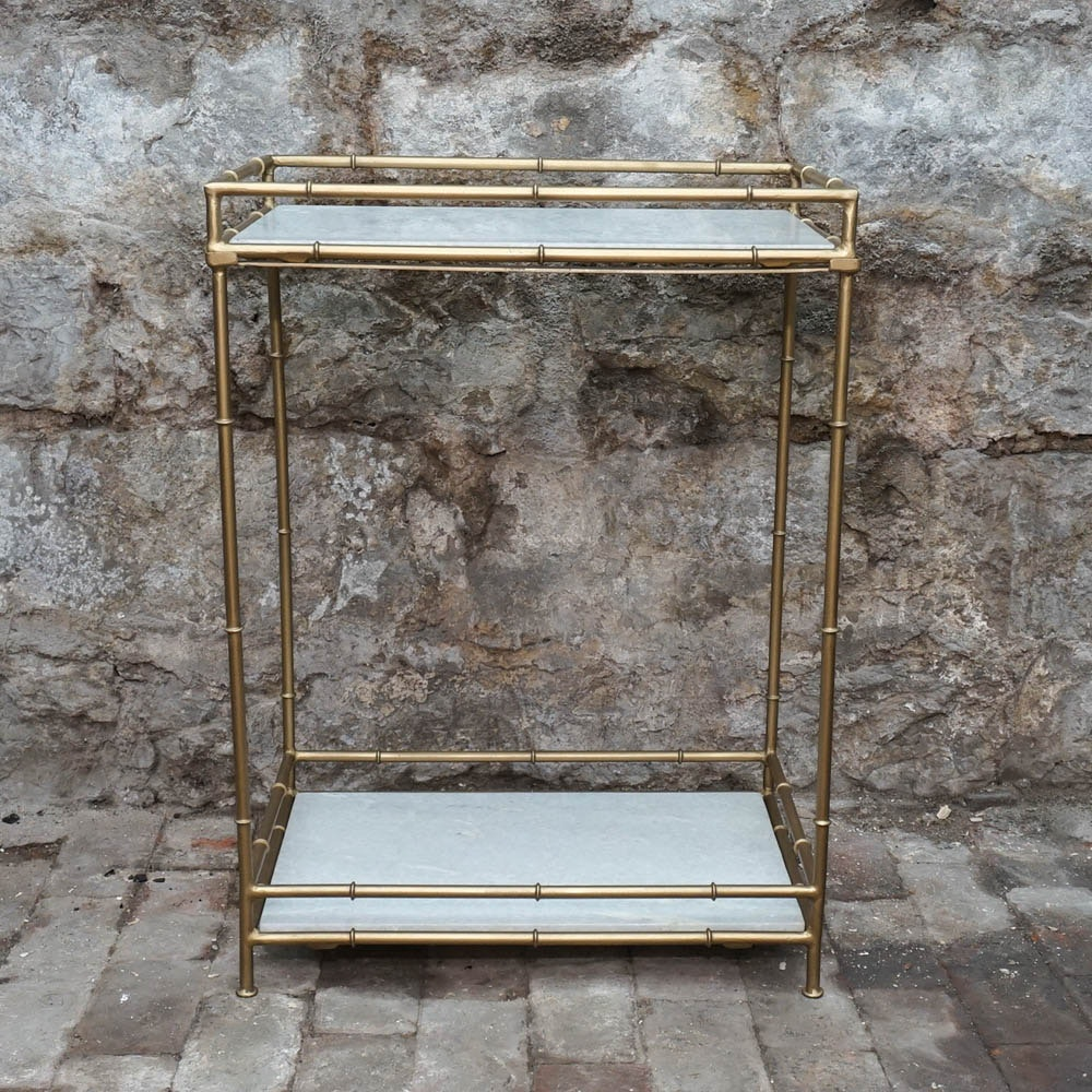 Hollywood Regency-Style Faux Bamboo Side Table