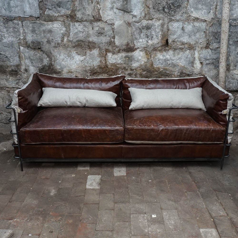 Contemporary Full Grain Leather Style Sofa