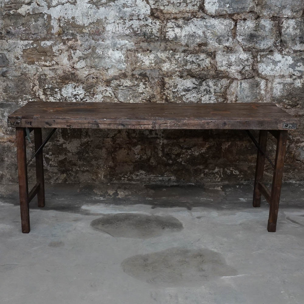 Reclaimed Wood Folding Console Table