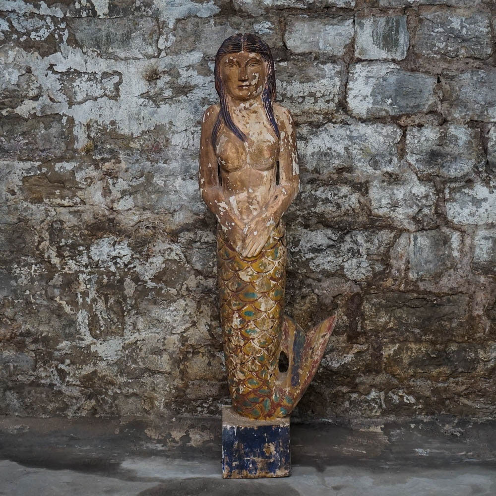 Plaster Mermaid Statue