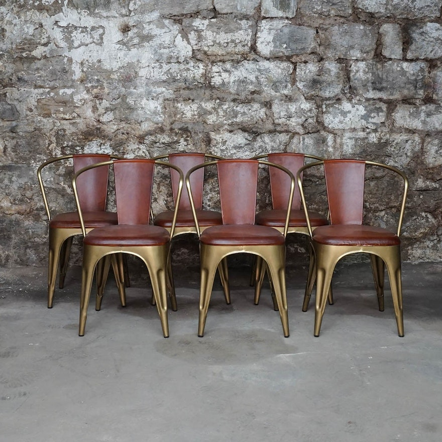 Leather and Brushed Gold Tone Metal Tub Chairs : EBTH