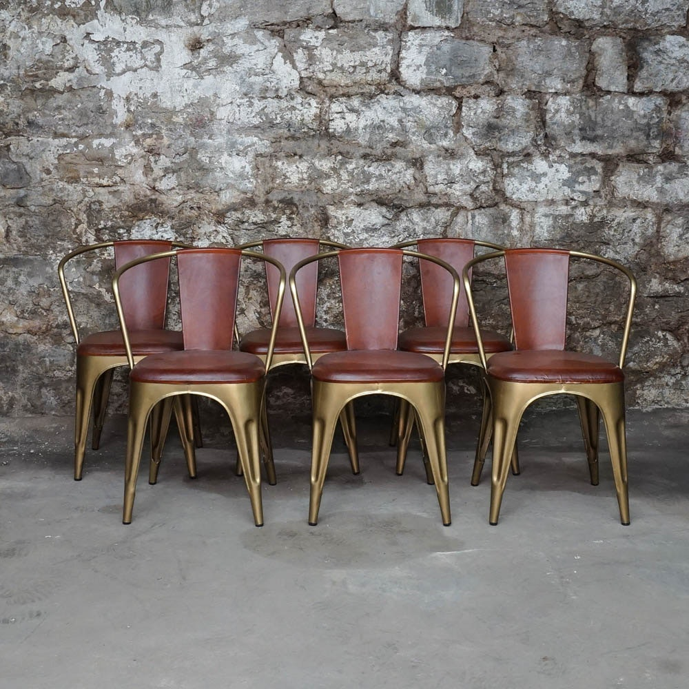 Leather And Brushed Gold Tone Metal Tub Chairs