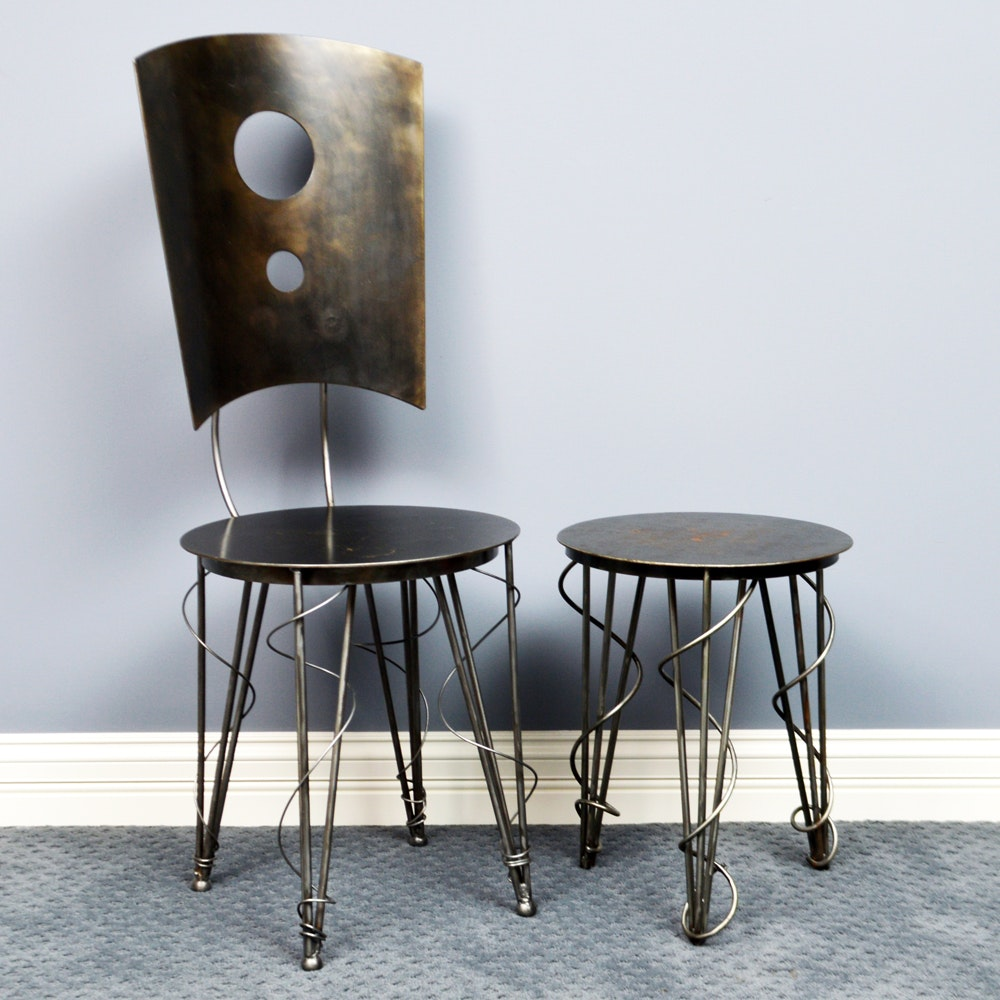 Handcrafted Metalwork Chair and Side Table