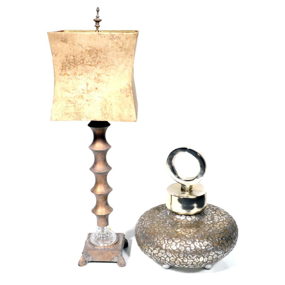 "Decorative ""Myrid""  Lidded Vessel and Table Lamp"