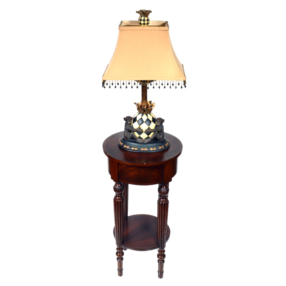 Contemporary Accent Table by Ethan Allen and Table Lamp