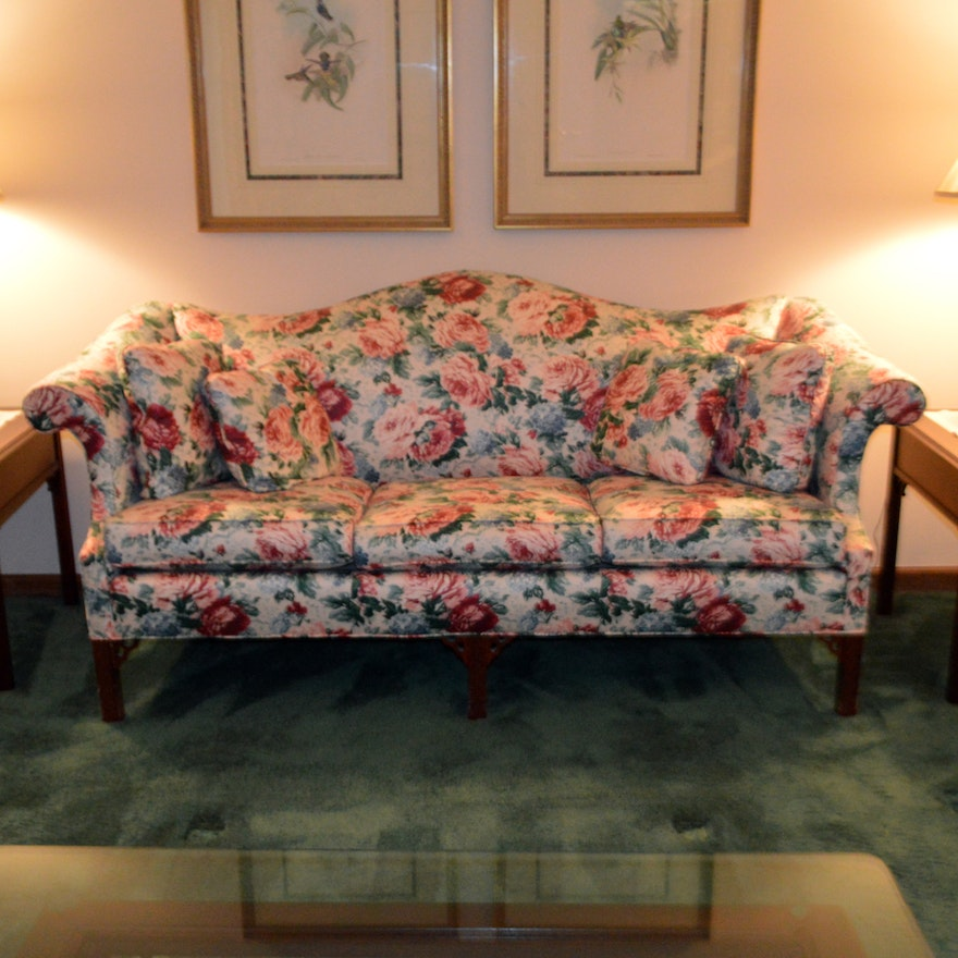 Upholstered Floral Sofa By Pennsylvania House