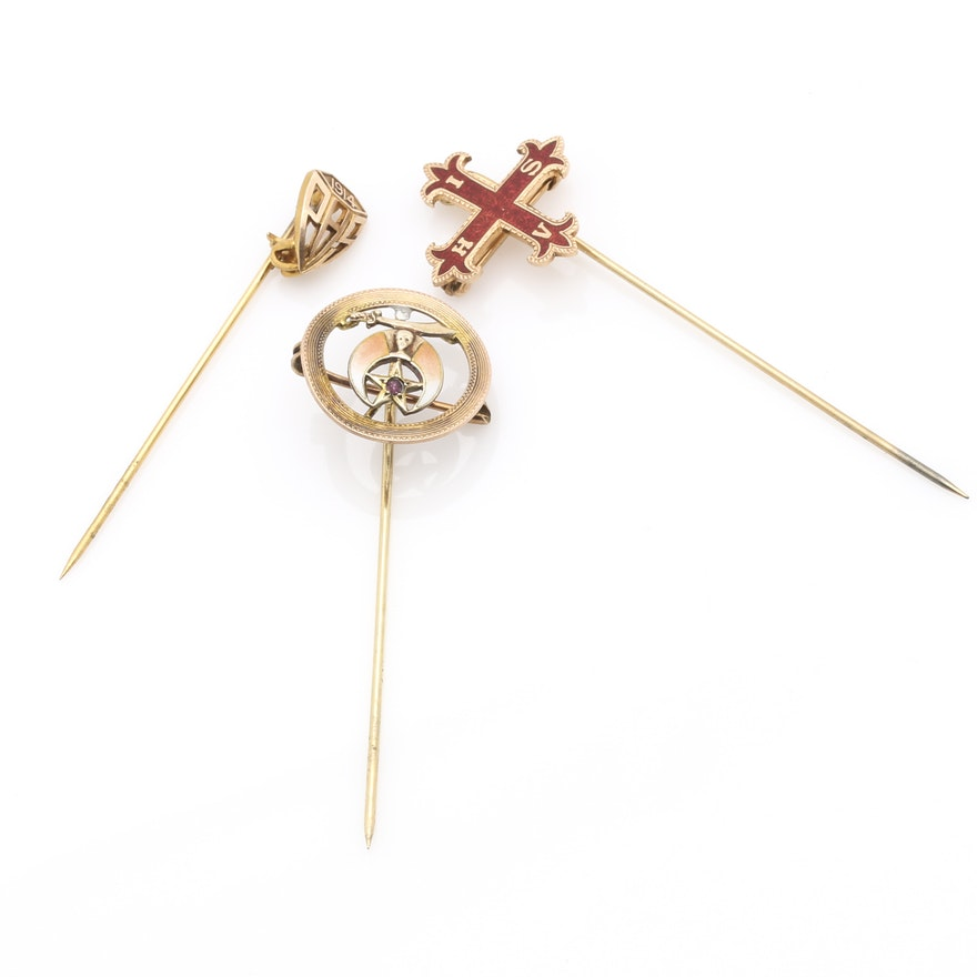 7f28ae84578 10K Yellow Gold Symbolic Pin Assortment : EBTH