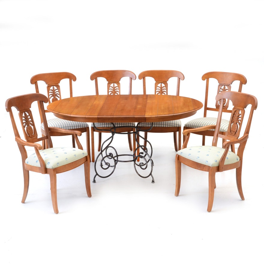Ethan Allen Legacy Collection Dining Table And Chairs