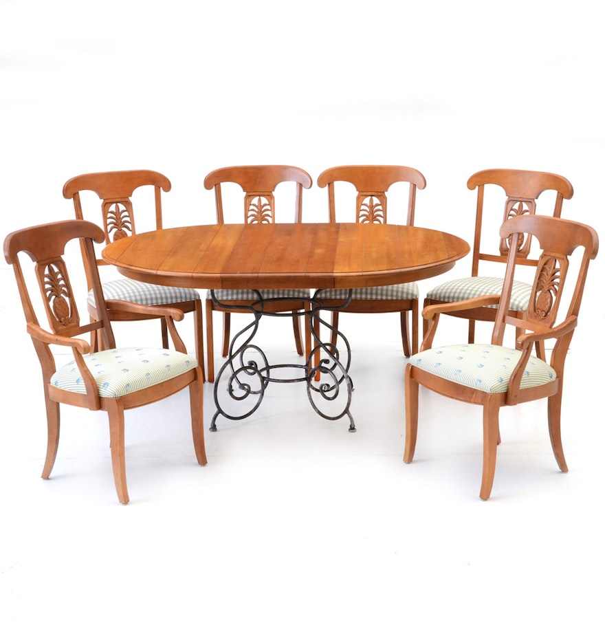 """Ethan Allen """"Legacy"""" Collection Dining Table And Chairs : EBTH"""