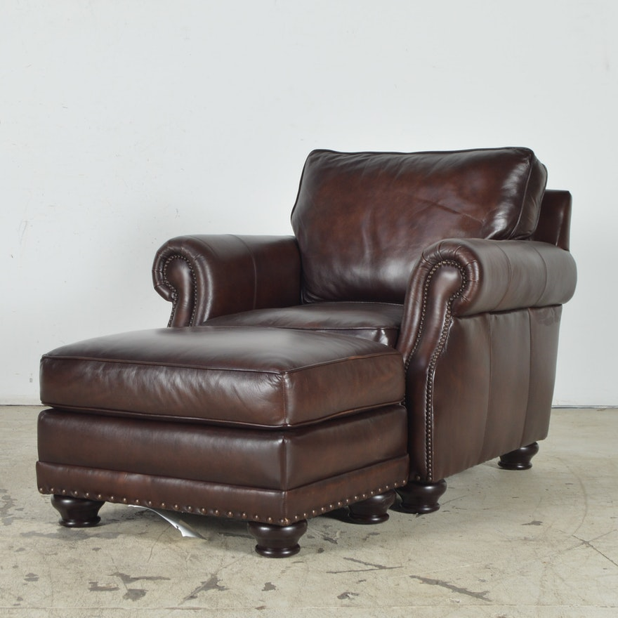 Havertys Furniture Brown Leather Armchair with Ottoman : EBTH