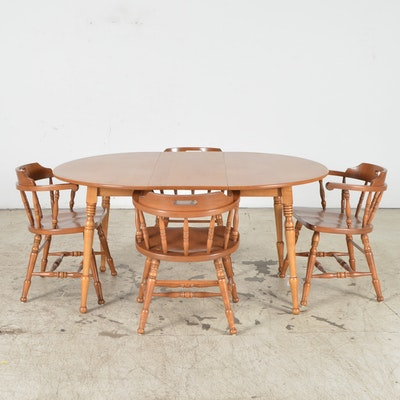 Vintage tudor style oak dining table and six chairs ebth for S bent dining room furniture