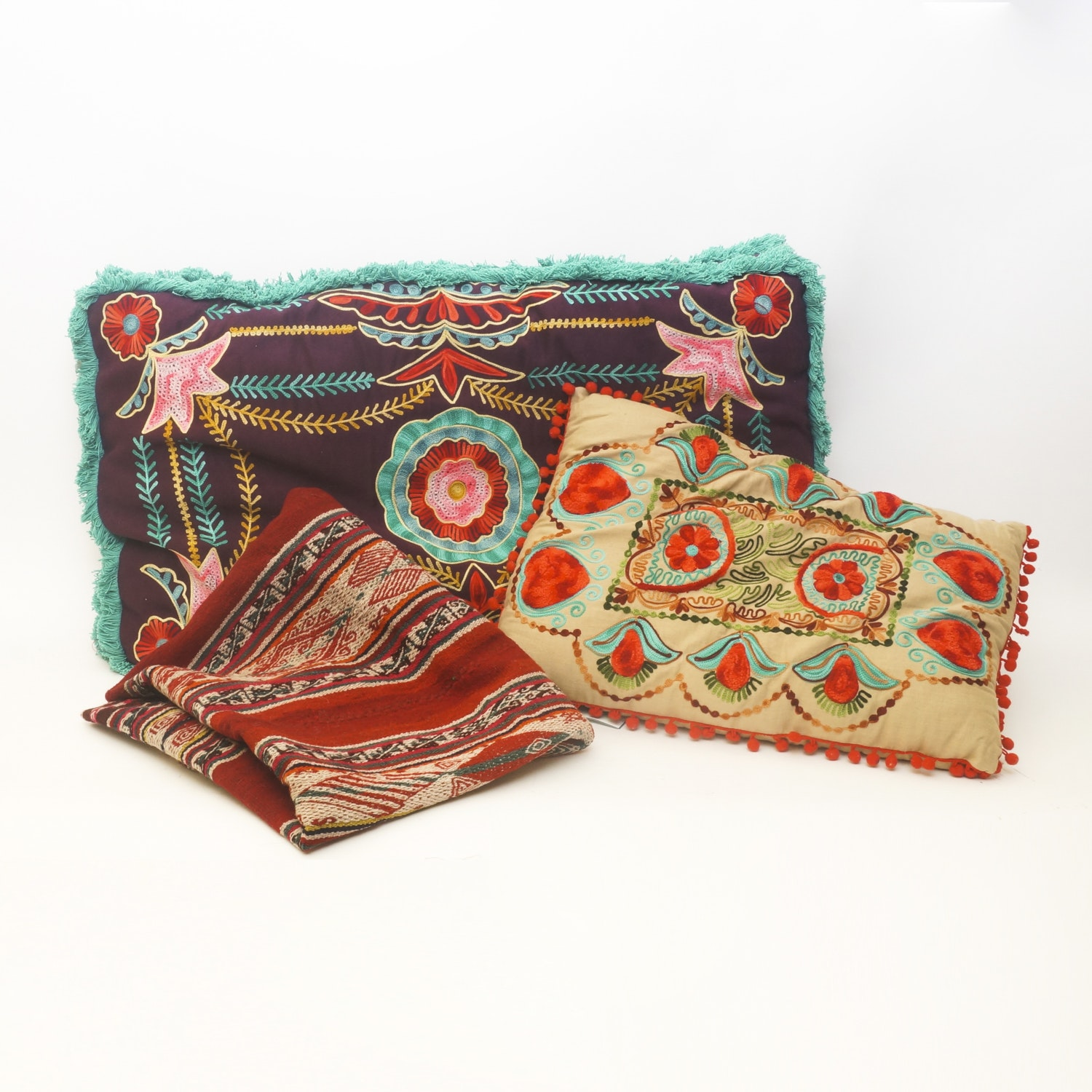 karma living embroidered pillows with throw