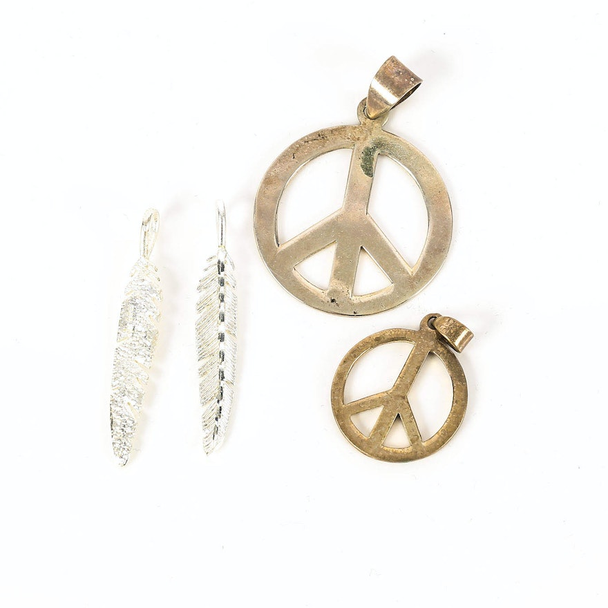 Sterling silver peace sign pendants and feather pendants ebth sterling silver peace sign pendants and feather pendants audiocablefo