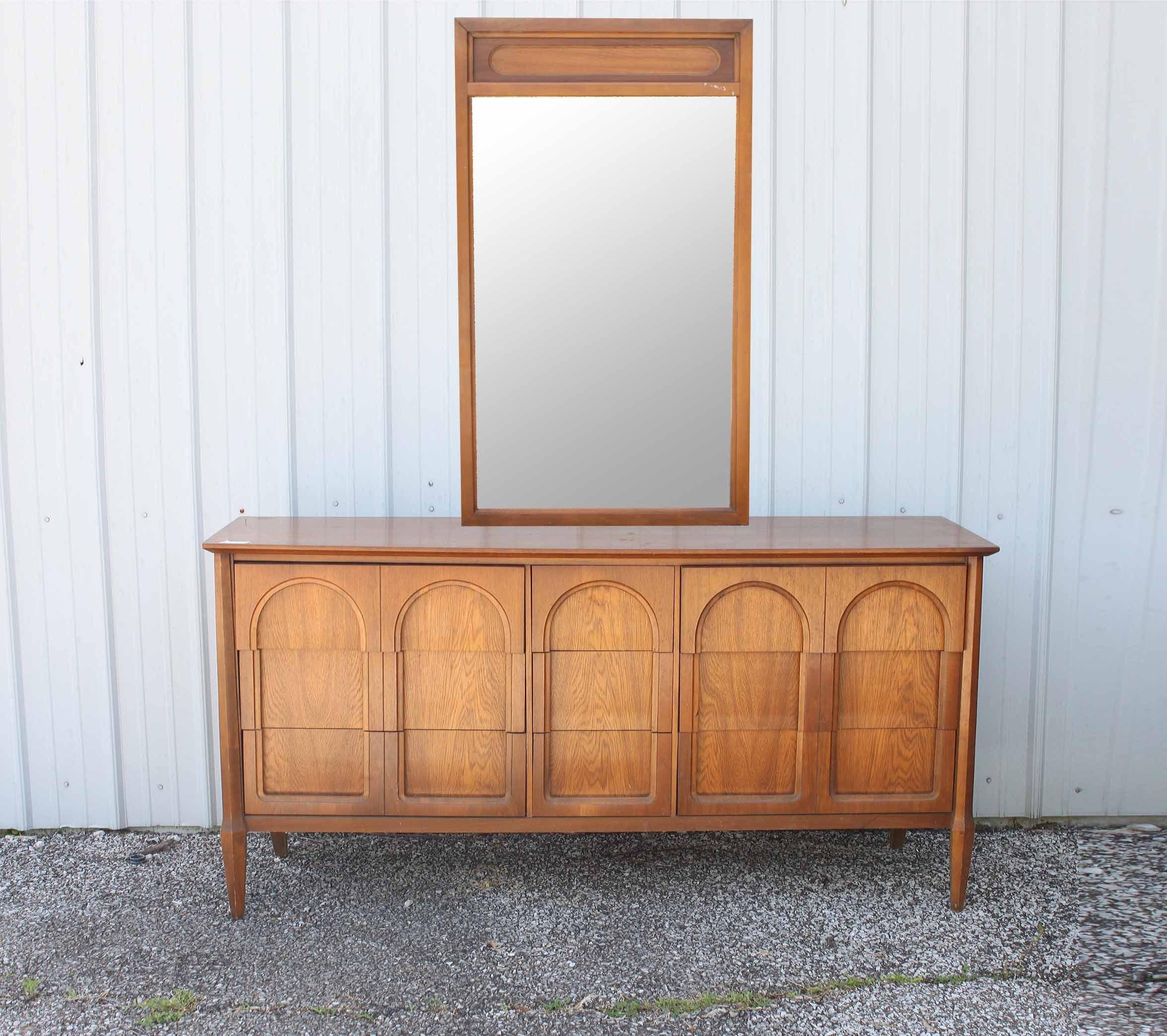 Mid Century Modern Credenza with Mirror