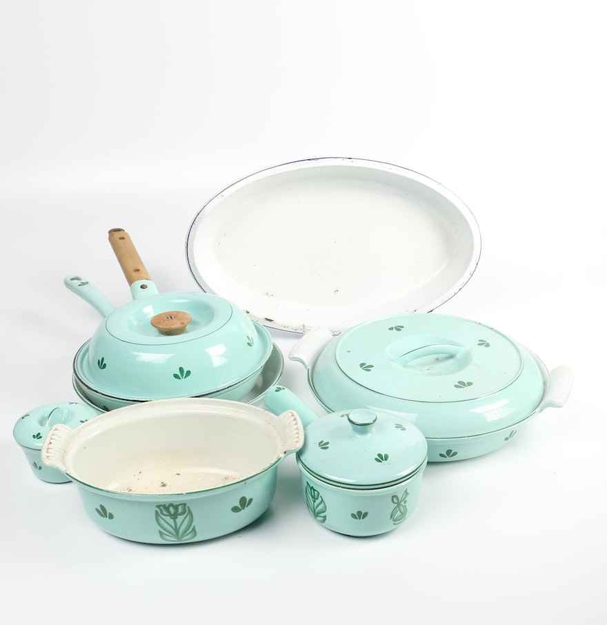 DRU Holland Green Enameled Cast Iron Cookware and Bakeware : EBTH