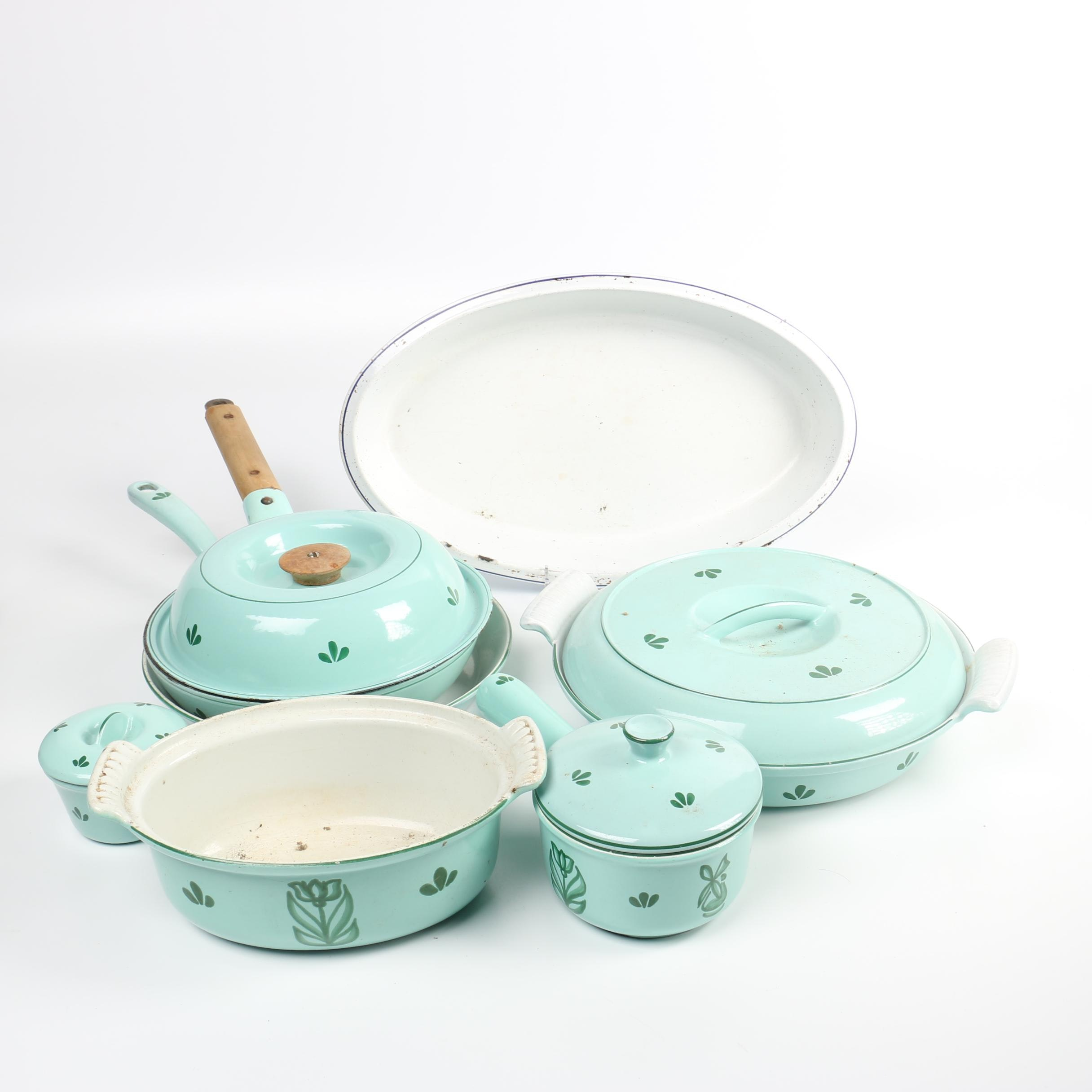 dru holland green enameled cast iron cookware and bakeware