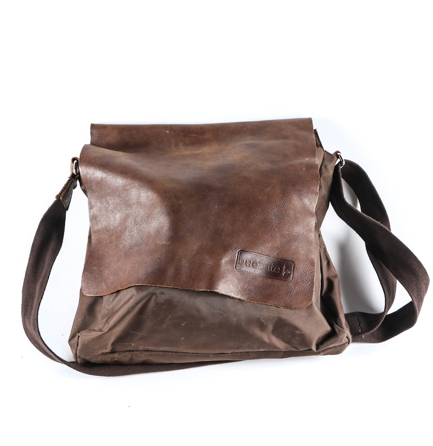 Roots Brown Leather Book Bag and Binder : EBTH